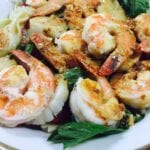 Shrimp & Pasta on a white and gold plate