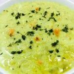coconut mulligatawny soup in white bowl