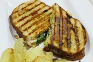 panini sandwich with potato chips