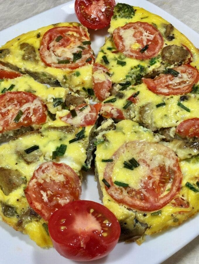 Frittata on a white plate