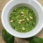 Pesto in a white dish