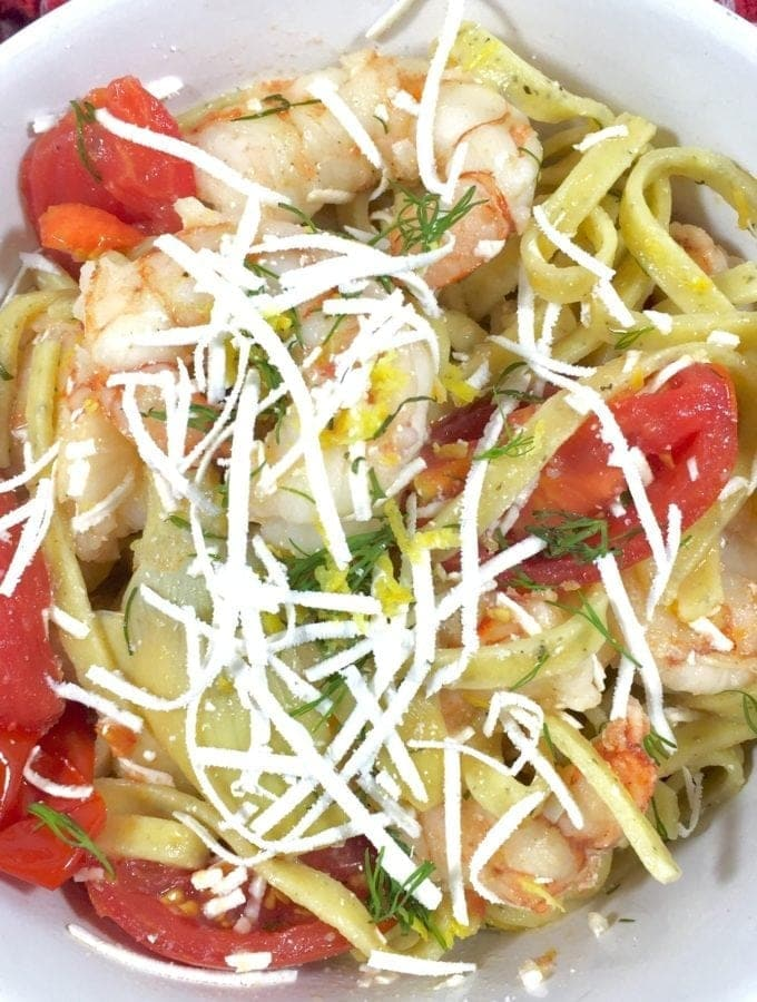 Lemon Fettuccine with Shrimp