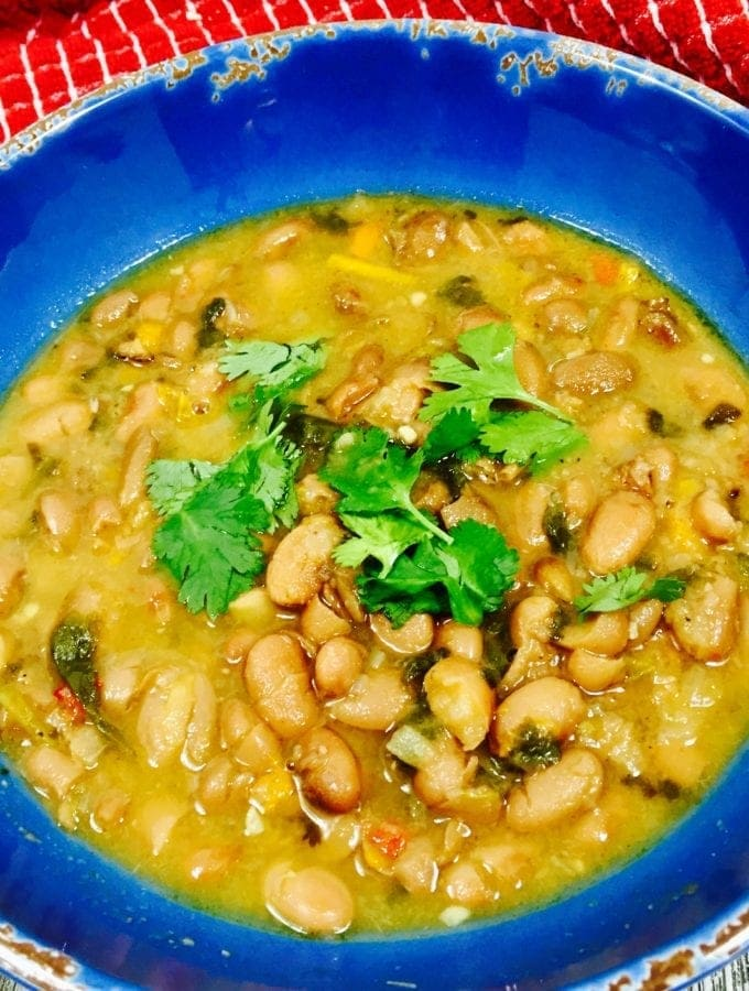 Mexican Pinto Beans in a blue bowl