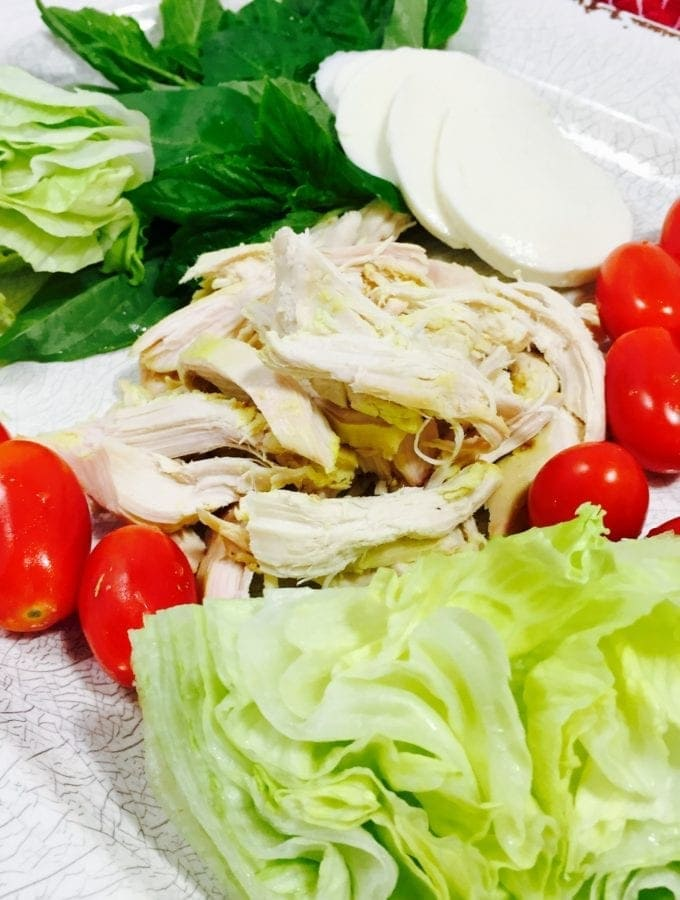 Ingredients of chicken Caprese Salad