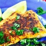 Blackened Salmon on a blue plate