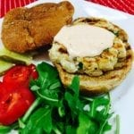 Grilled turkey burger with Sriracha Cream Sauce