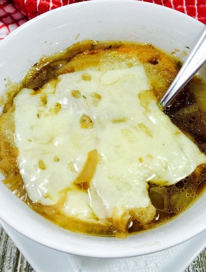 French Onion Soup in a white bowl
