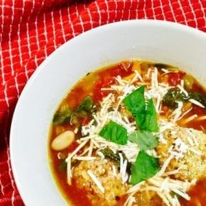Tuscan Chicken Soup in a white bowl