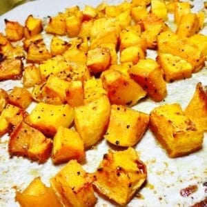 Roasted butternut squash on a sheet pan