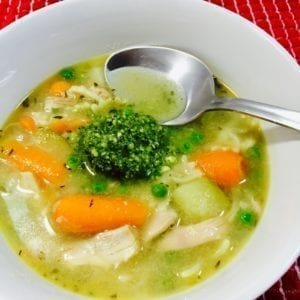 Chicken Pesto Soup in a white bowl