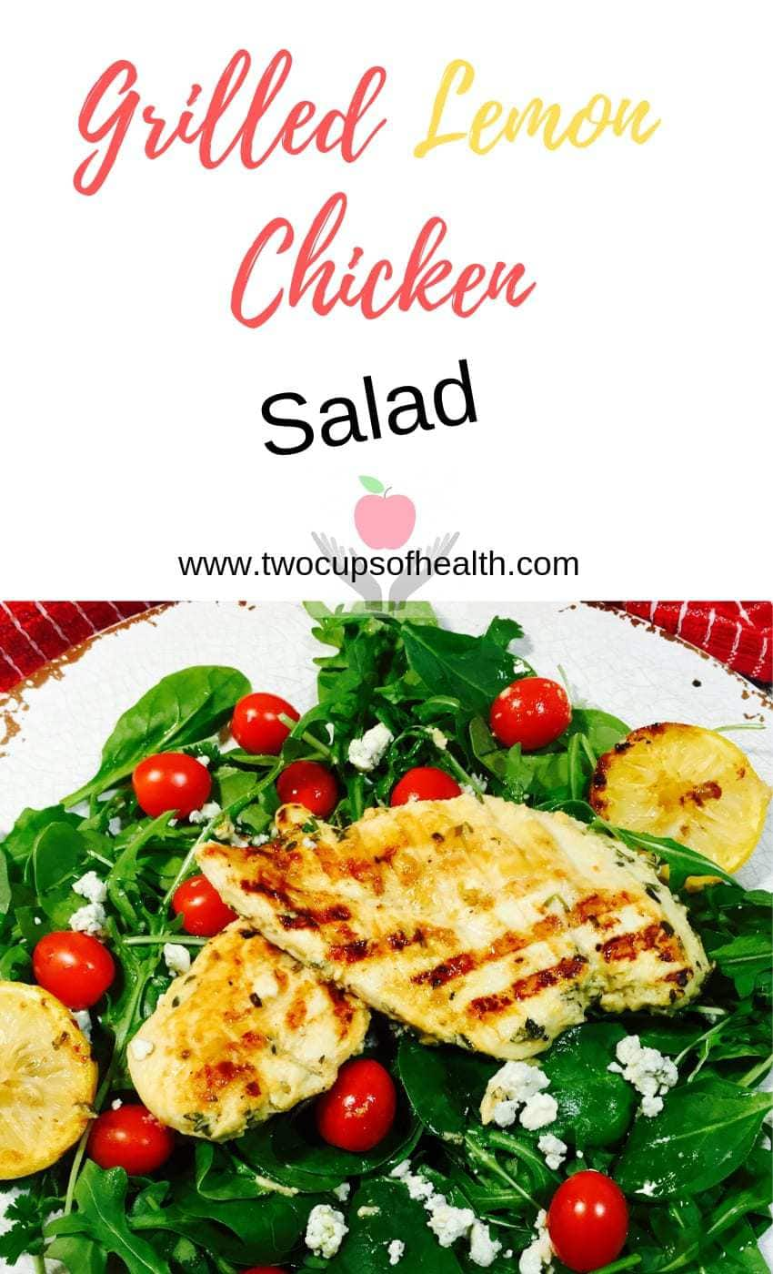 Pinterest pin for Grilled Lemon Chicken Salad