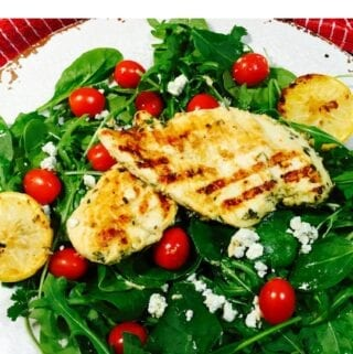 pinterest pin for Grilled Lemon Chicken Salad on a white plate