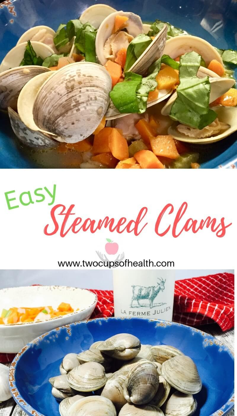 Pinterest pin for Easy Steamed Clams