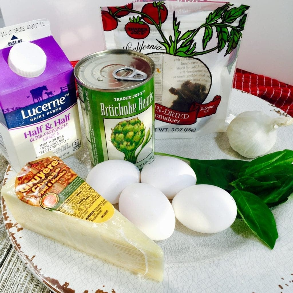 Ingredients for a frittata on a red tablecloth