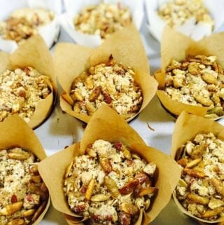 Pumpkin muffins in brown wrappers