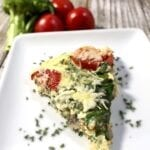 slice of frittata on a white plate