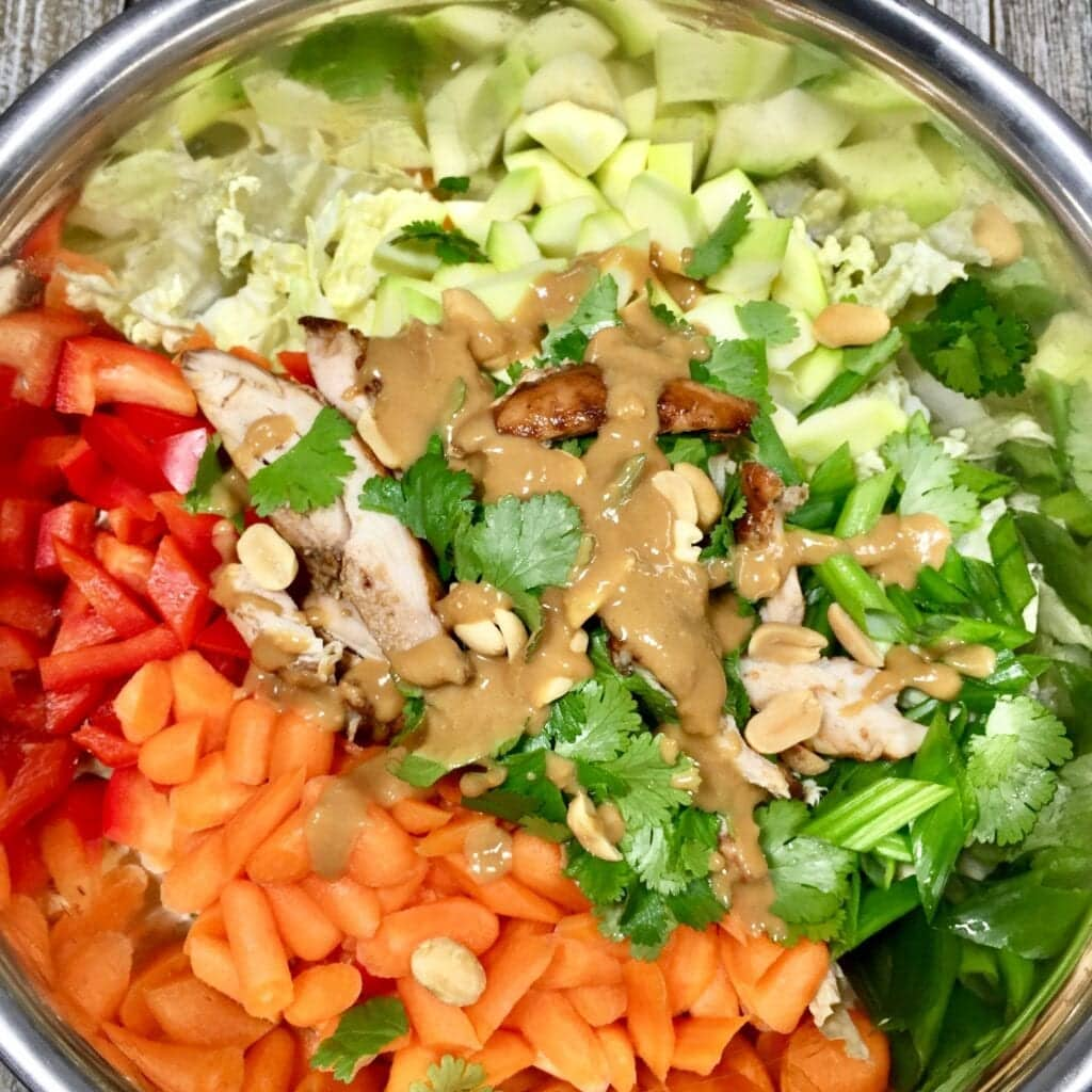 Thai Chicken Salad in a metal bowl