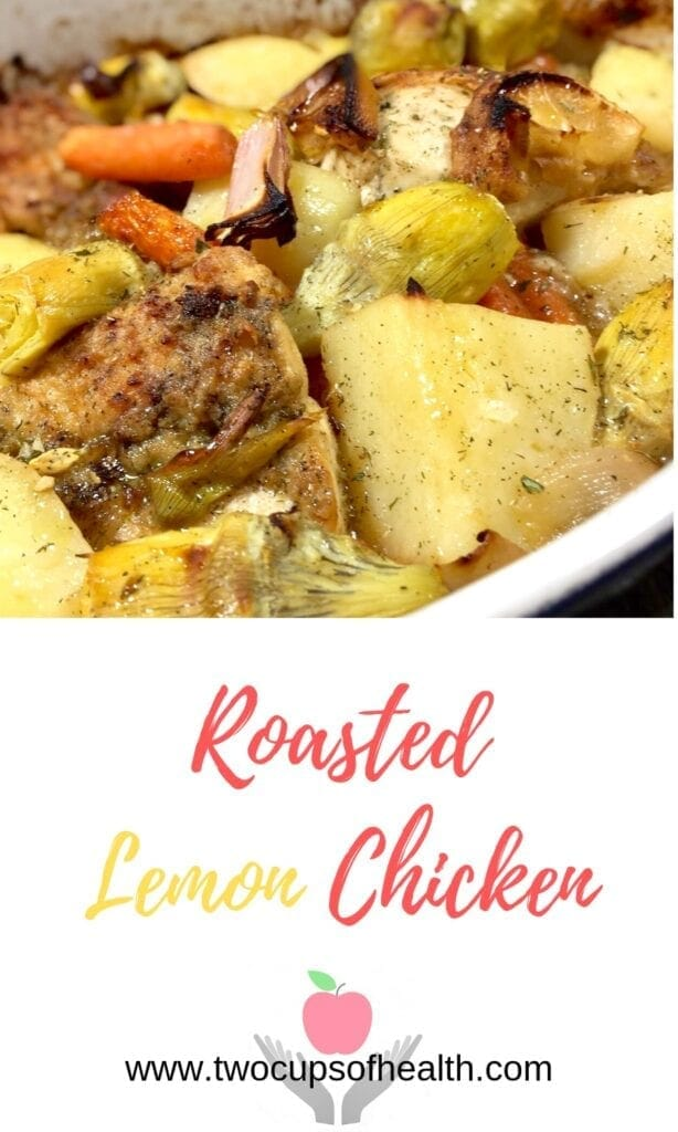 roasted lemon chicken with artichokes and potatoes in a white pan