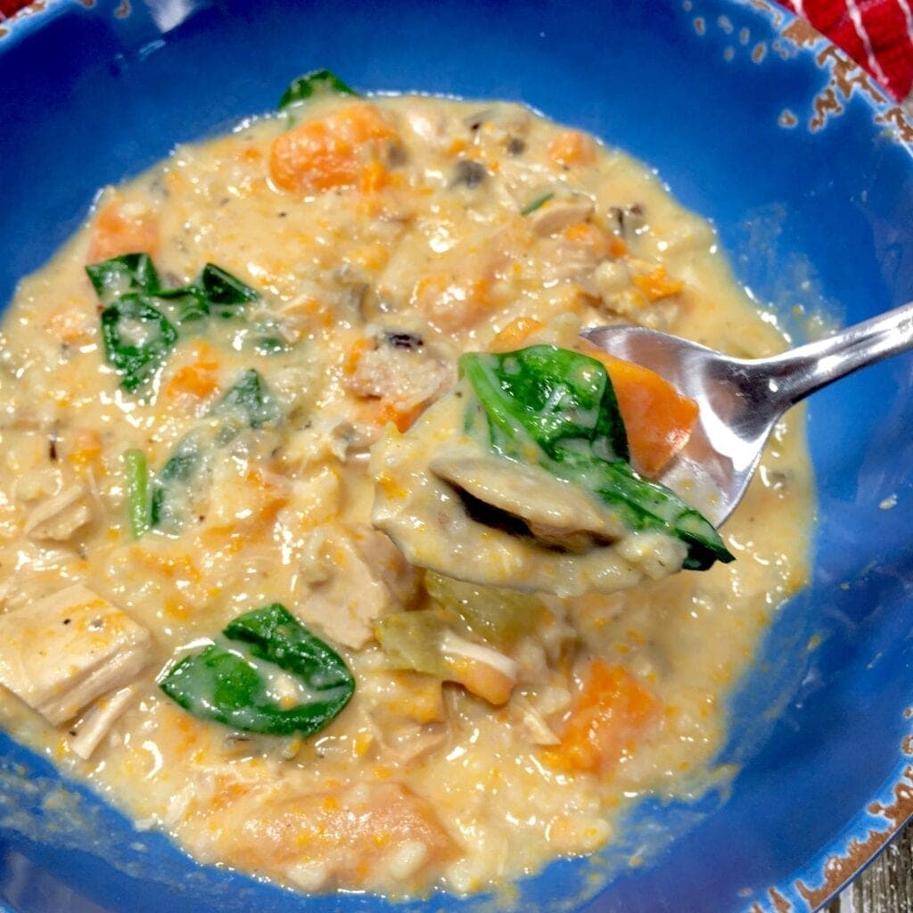 creamy chicken soup in a blue bowl