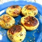 Herb Roasted Potatoes on a blue plate