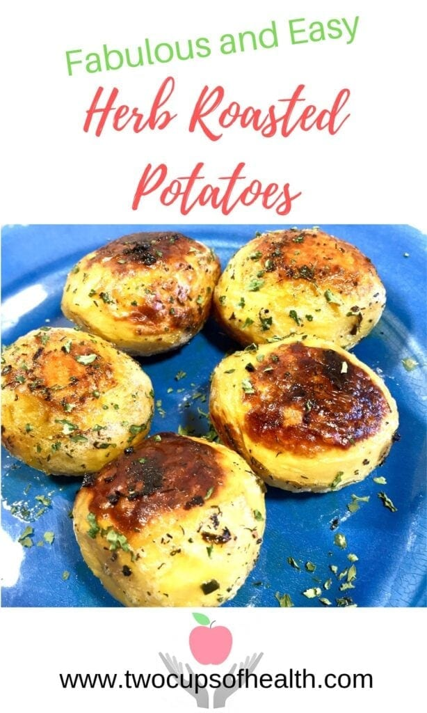 Pinterest Pin Herb Roasted Potatoes on a blue plate