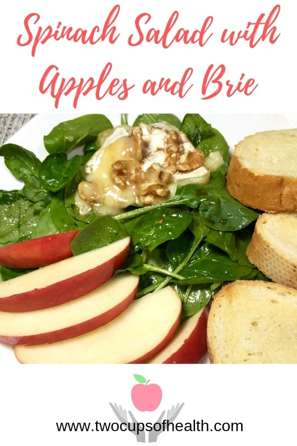 Pinterest pin iSpinach Salad with Apples, Melted Brie and Walnuts
