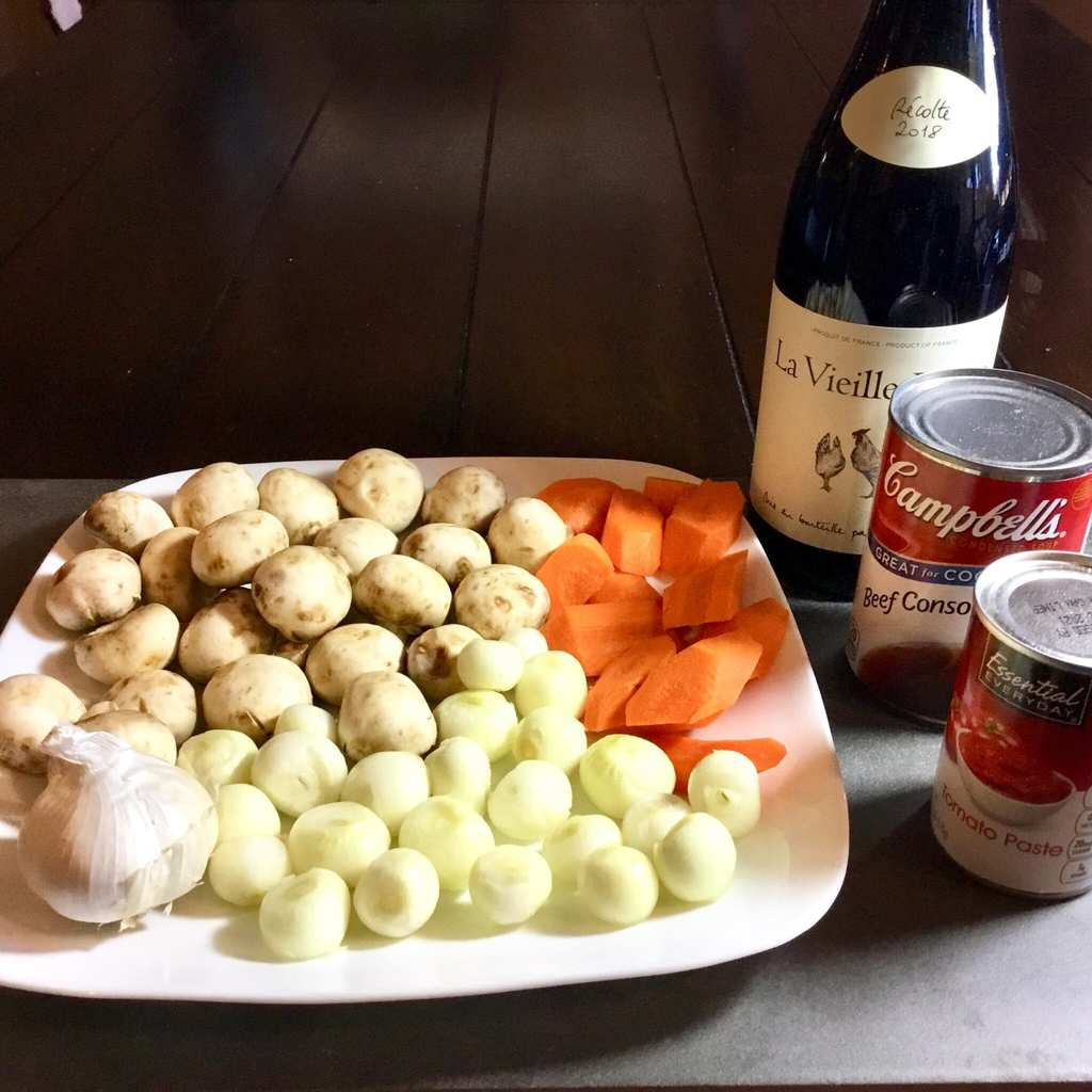 Ingredients for Julia's Easy Coq au Vin