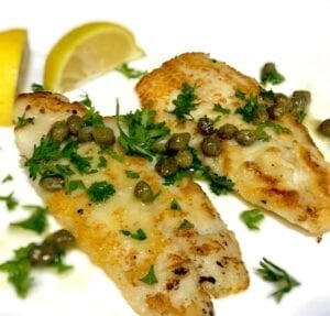 Dover Sole with Lemon and Capers on a white plate