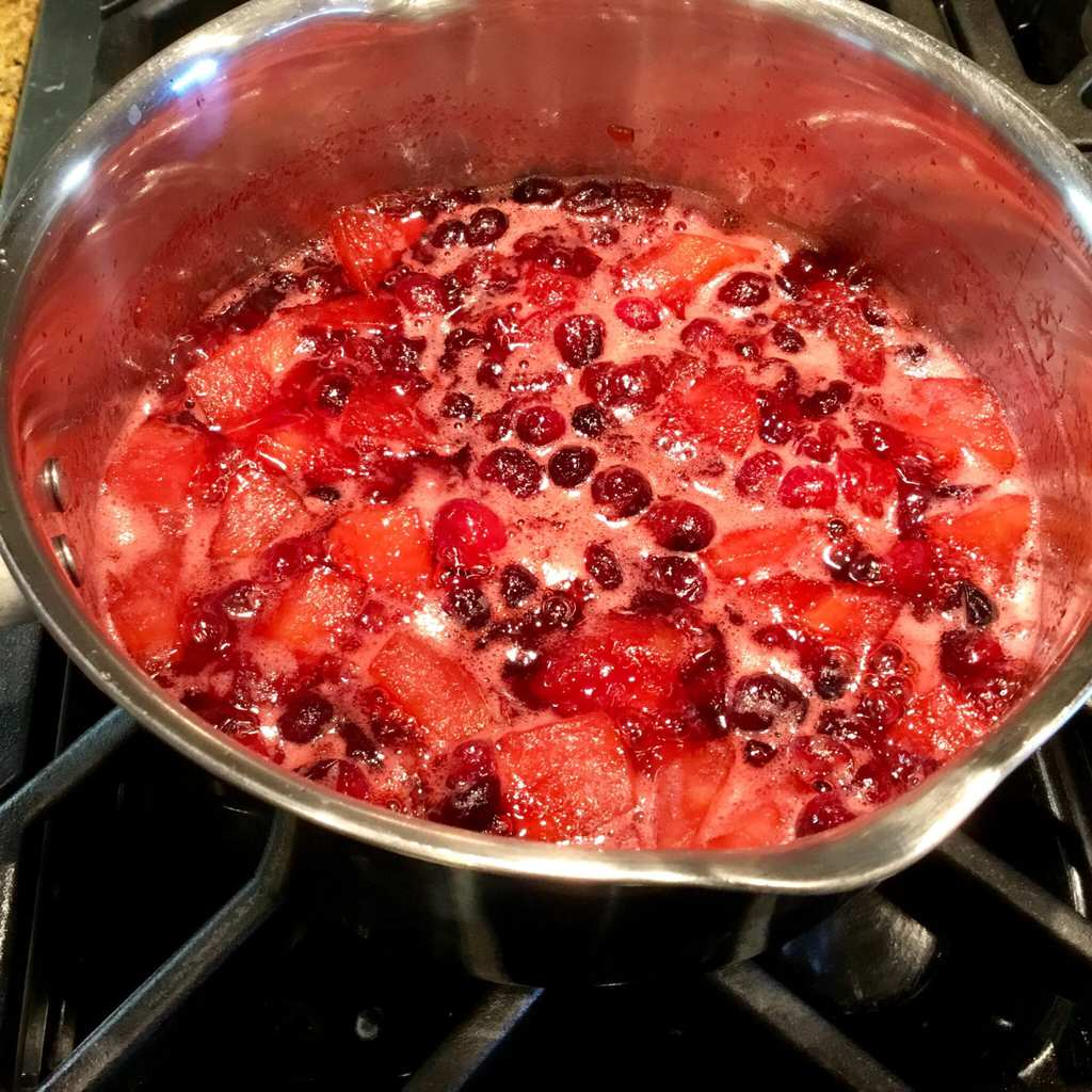 cranberries cooking on the stove