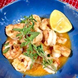 Shrimp Scampi in a blue bowl
