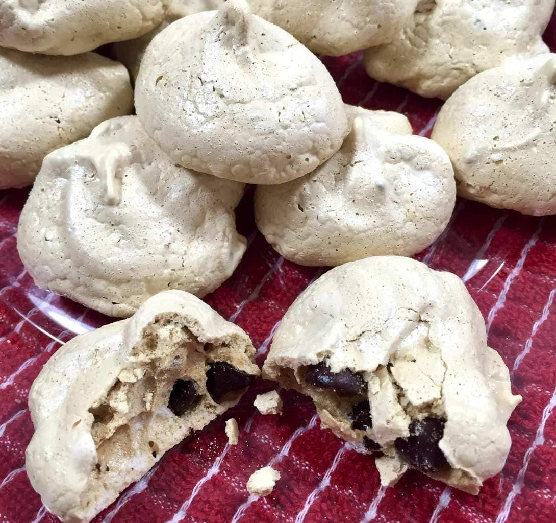 Espresso Meringues with Chocolate Chips