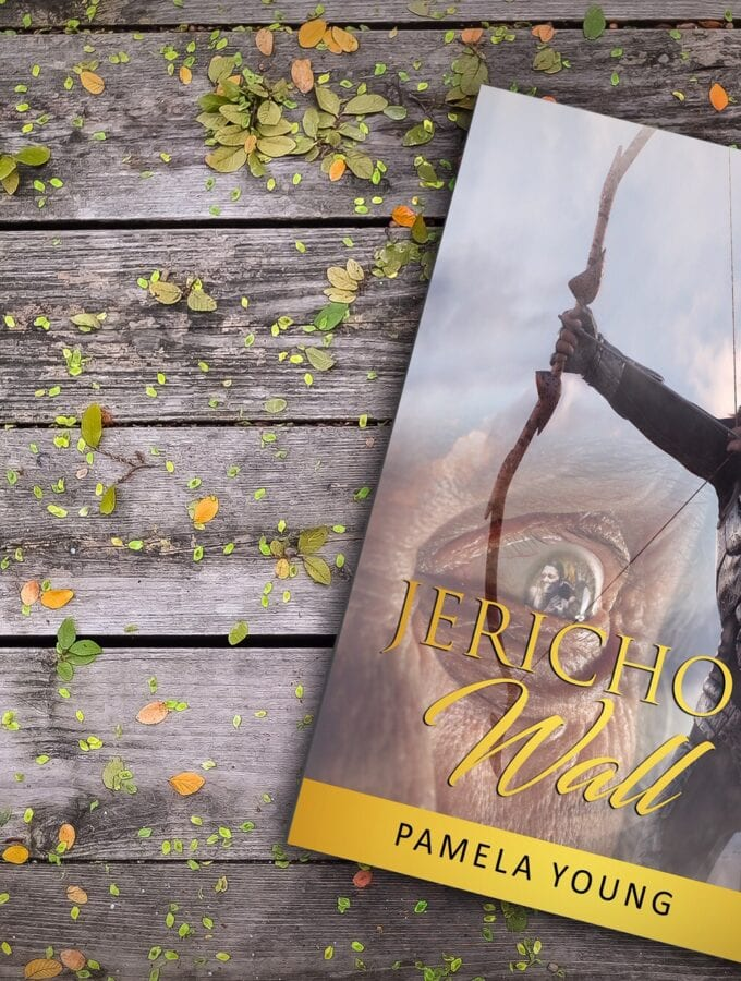 Book cover of Jericho's Wall by Pamela Young on a wooden table with leaves