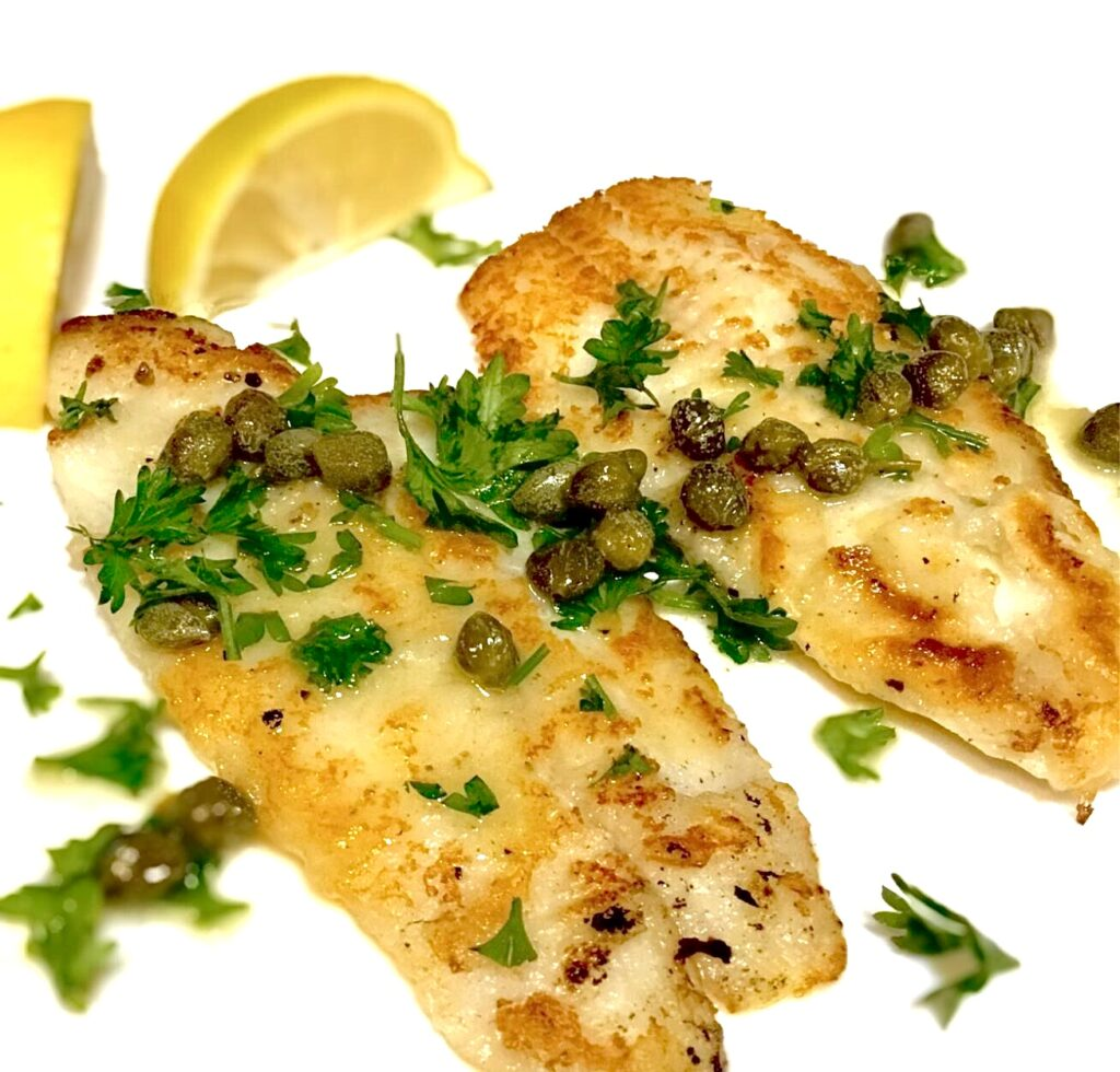 Pinterest Pin for Dover Sole with Lemon and Capers