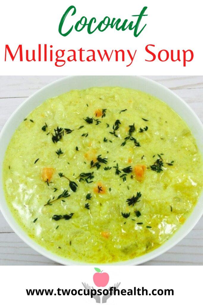 Pinterest pin of coconut mulligatawny soup