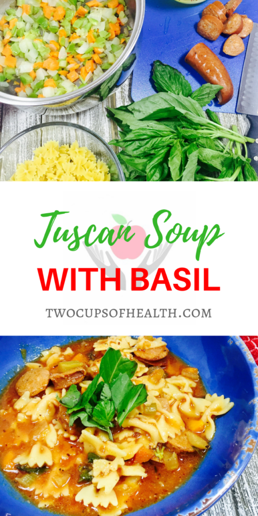 Pinterest Pin Tuscan Soup with Basil