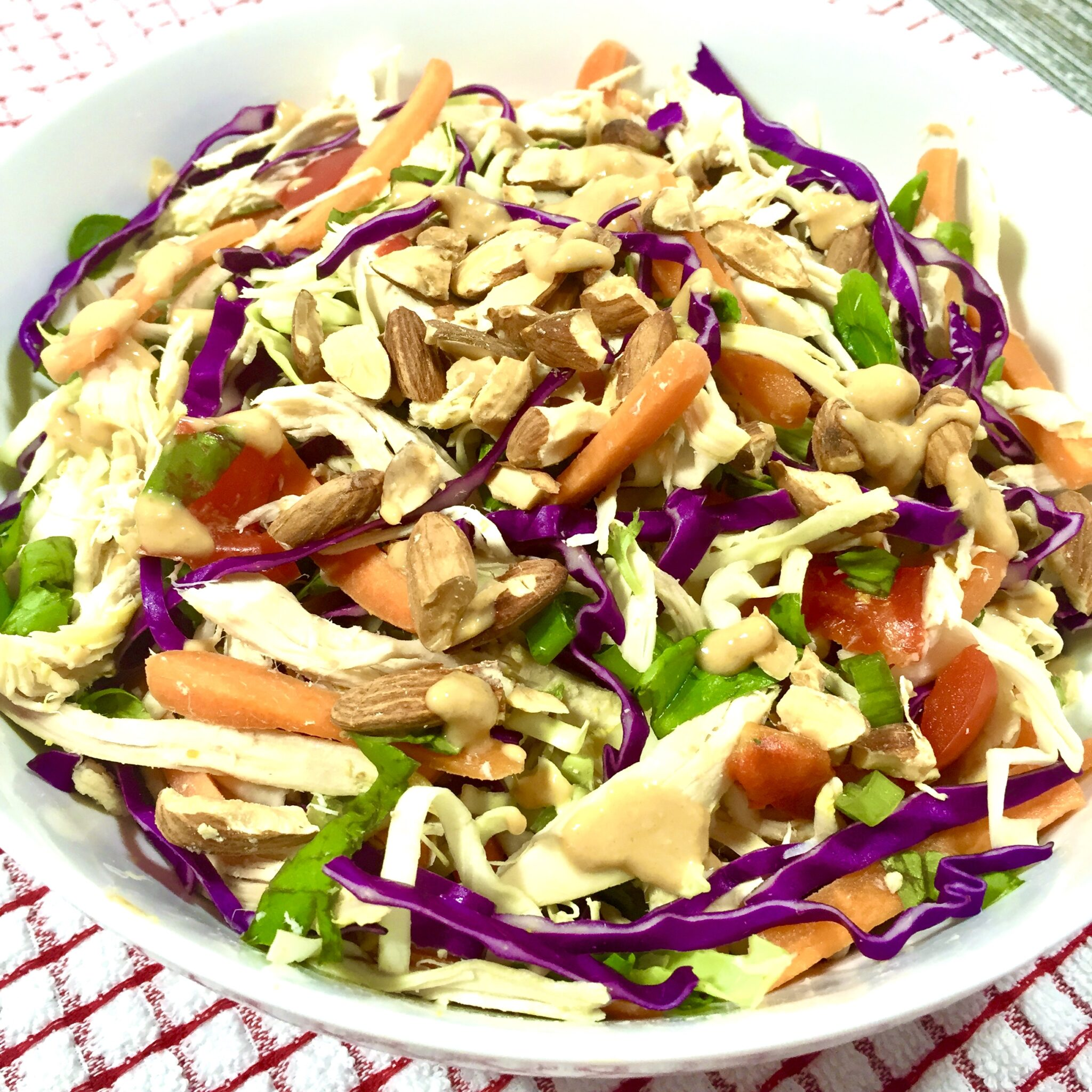 Asian Chicken Salad in a white bowl