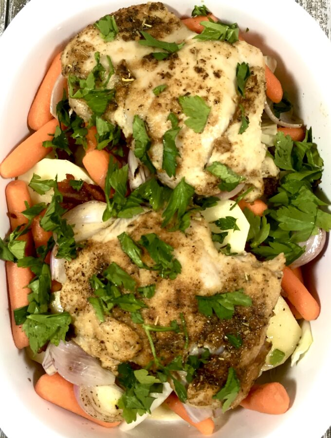 Dublin Pub Chicken in white baking dish